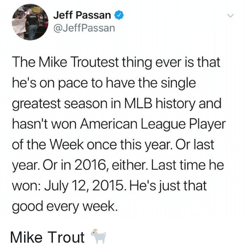 Mlb, American, and Good: Jeff Passan  @JeffPassan  The Mike Troutest thing ever is that  he's on pace to have the single  greatest season in MLB history and  hasn't won American League Player  of the Week once this year. Or last  year. Or in 2016, either. Last time he  won: July 12, 2015. He's just that  good every week. Mike Trout 🐐