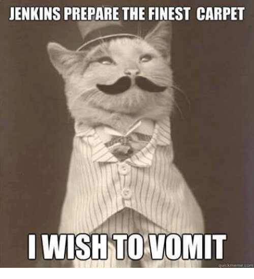 Memes, 🤖, and Carpet: JENKINS PREPARE THE FINEST CARPET  I WISH TO VOMIT  quick meme
