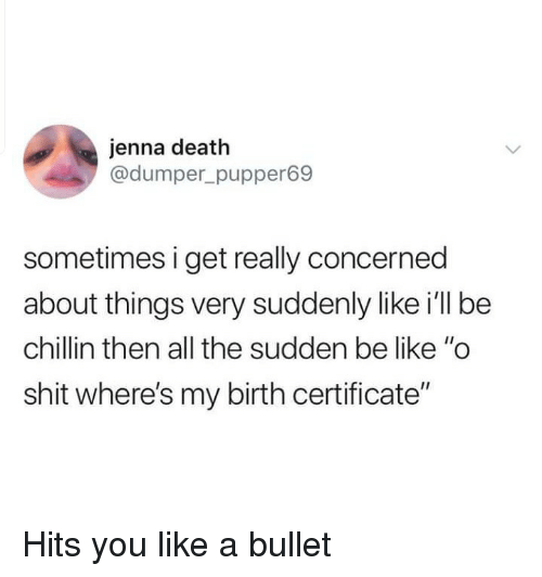 """Be Like, Shit, and Death: jenna death  @dumper_pupper69  sometimes i get really concerned  about things very suddenly like i'll be  chillin then all the sudden be like """"o  shit where's my birth certificate"""" Hits you like a bullet"""