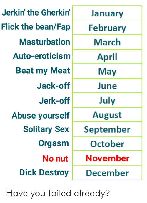 Sex, Dick, and Orgasm: Jerkin' the Gherkin'  January  Flick the bean/Fap  February  Masturbation  March  Auto-eroticism  April  Beat my Meat  May  Jack-off  June  July  Jerk-off  Abuse yourself  August  Solitary Sex  September  Orgasm  October  November  No nut  Dick Destroy  December Have you failed already?