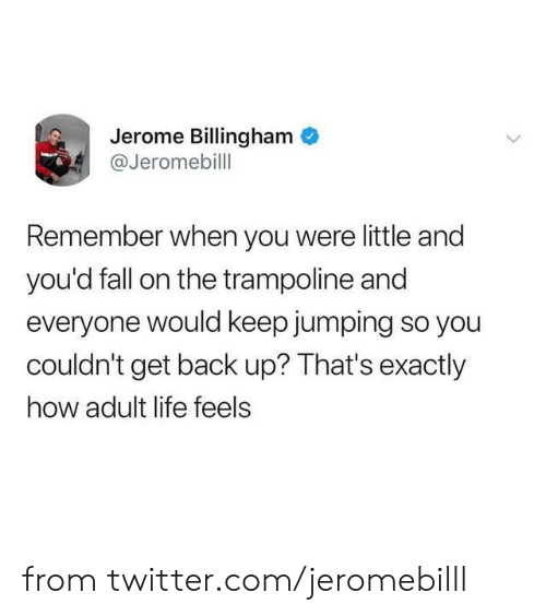 back up: Jerome Billingham  @Jeromebill  Remember when you were little and  you'd fall on the trampoline and  everyone would keep jumping so you  couldn't get back up? That's exactly  how adult life feels from twitter.com/jeromebilll