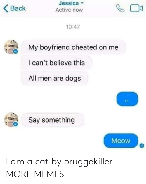 Dank, Dogs, and Memes: Jessica  Active now  Back  10:47  My boyfriend cheated on me  I can't believe this  All men are dogs  Say something  Meow I am a cat by bruggekiller MORE MEMES