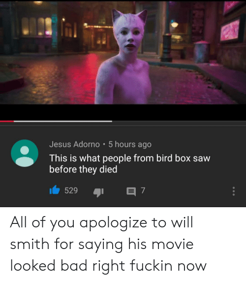 Bad, Jesus, and Saw: Jesus Adorno 5 hours ago  This is what people from bird box saw  before they died  529  E 7 All of you apologize to will smith for saying his movie looked bad right fuckin now