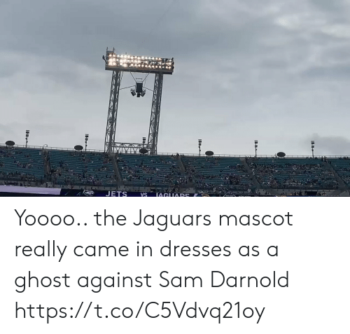 Dresses: JETS  IAGUARS  VS Yoooo.. the Jaguars mascot really came in dresses as a ghost against Sam Darnold https://t.co/C5Vdvq21oy