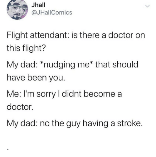 Flight: Jhall  @JHallComics  Flight attendant: is there a doctor on  this flight?  My dad: *nudging me* that should  have been you.  Me: I'm sorry I didnt become a  doctor.  My dad: no the guy having a stroke. .