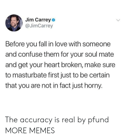 soul mate: Jim Carrey o  @JimCarrey  Before you fall in love with someone  and confuse them for your soul mate  and get your heart broken, make sure  to masturbate first just to be certain  that you are not in fact just horny. The accuracy is real by pfund MORE MEMES