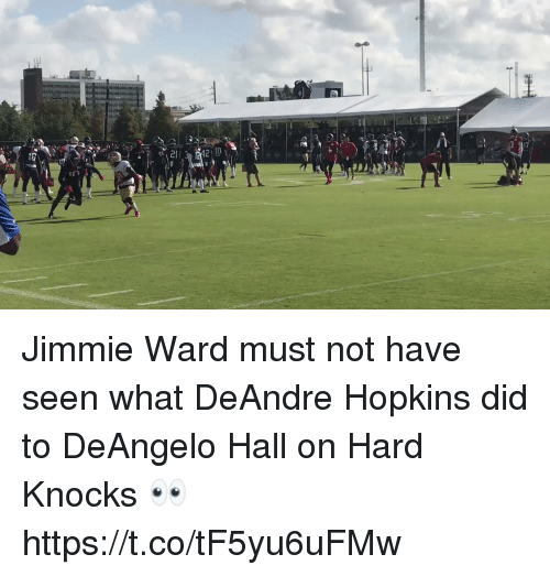 Jimmie: Jimmie Ward must not have seen what DeAndre Hopkins did to DeAngelo Hall on Hard Knocks 👀  https://t.co/tF5yu6uFMw
