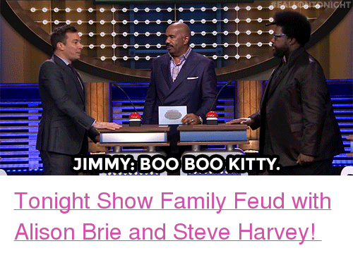 """Family Feud: JIMMY: BOO BOO, KITTY <p><a href=""""https://www.youtube.com/watch?v=WroaEWqqGlg"""" target=""""_blank"""">Tonight Show Family Feud with Alison Brie and Steve Harvey!</a></p>"""