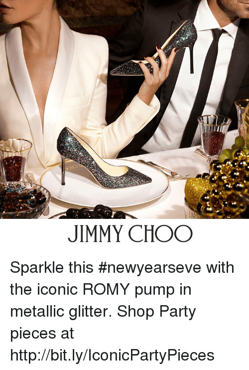 romy: JIMMY CHOO Sparkle this #newyearseve with the iconic ROMY pump in metallic glitter.   Shop Party pieces at http://bit.ly/IconicPartyPieces
