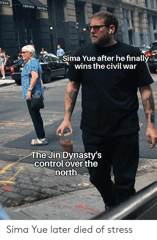 Control, Civil War, and Equinox: JINOX  tQUINOX EQUINOX  Sima Yue after he finally  wins the civil war  The Jin Dynasty's  control over the  north Sima Yue later died of stress