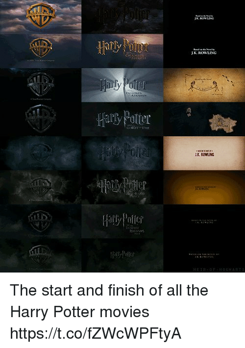 Politic: JK ROWLING  Hary Potter  K ROWLING  Hally Polit  HEIR-OF-HOSWART The start and finish of all the Harry Potter movies https://t.co/fZWcWPFtyA