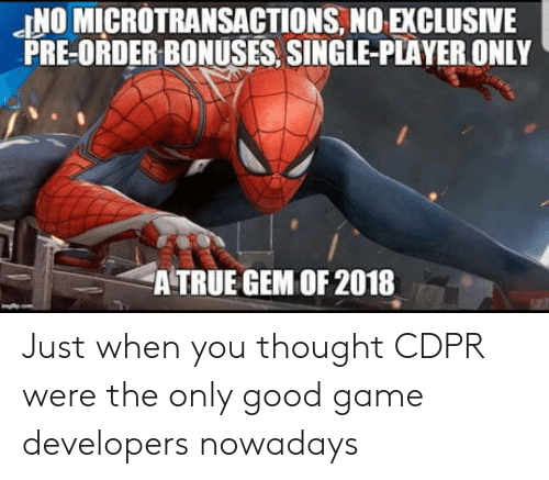pre order: JNO MICROTRANSACTIONS, NO EXCLUSIVE  PRE-ORDER BONUSES, SINGLE-PLAYER ONLY  A TRUE GEM OF 2018 Just when you thought CDPR were the only good game developers nowadays