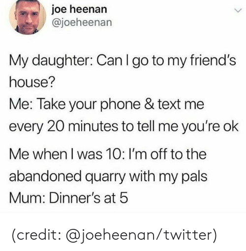 Friends House: joe heenan  @joeheenan  My daughter: Can I go to my friend's  house?  Me: Take your phone & text me  every 20 minutes to tell me you're ok  Me when I was 10: I'm off to the  abandoned quarry with my pals  Mum: Dinner's at 5 (credit: @joeheenan/twitter)