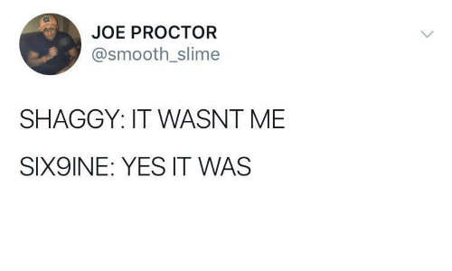 Smooth, Yes, and Shaggy: JOE PROCTOR  @smooth_slime  SHAGGY: IT WASNT ME  SIX9INE: YES IT WAS