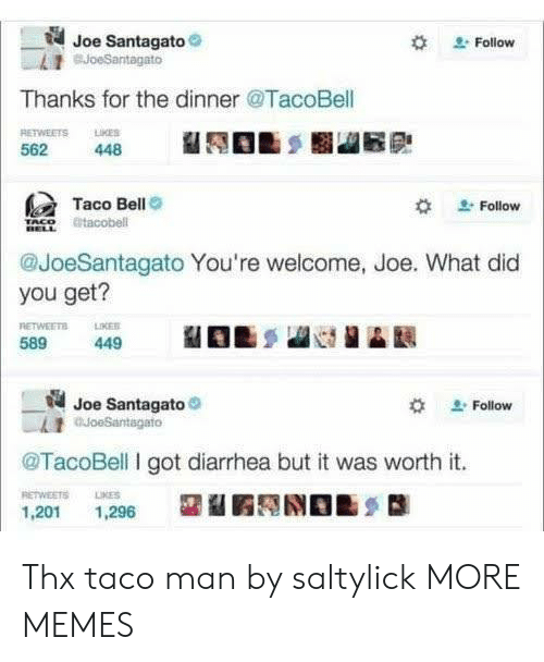 What Did You Get: Joe Santagato  BJoeSantagato  Follow  Thanks for the dinner @TacoBell  RETWEETS LKES  562  448  Taco Bell  Follow  tacobell  @JoeSantagato You're welcome, Joe. What did  you get?  RETWEETS  589  LIKER  449  Joe Santagato  auoeSantagato  Follow  @TacoBell I got diarrhea but it was worth it.  RETWEETS  LIKES  1,201  1,296 Thx taco man by saltylick MORE MEMES