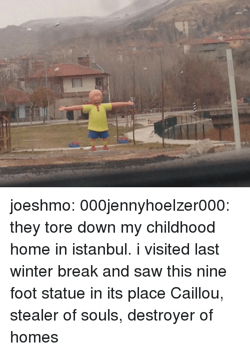 Winter Break: joeshmo: 000jennyhoelzer000:  they tore down my childhood home in istanbul. i visited last winter break and saw this nine foot statue in its place  Caillou, stealer of souls, destroyer of homes