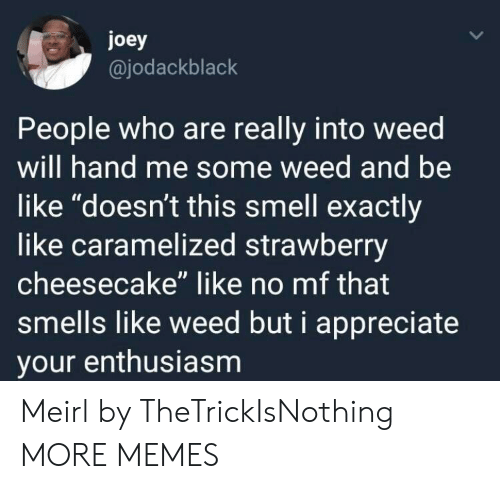 "Be Like, Dank, and Memes: joey  @jodackblack  People who are really into weed  will hand me some weed and be  like ""doesn't this smell exactly  like caramelized strawberry  cheesecake"" like no mf that  smells like weed but i appreciate  your enthusiasm Meirl by TheTrickIsNothing MORE MEMES"
