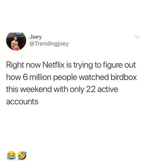 Memes, Netflix, and 🤖: Joey  @Trendingjoey  Right now Netflix IS trying to figure out  how 6 million people watched birdbox  this weekend with only 22 active  accounts 😂🤣