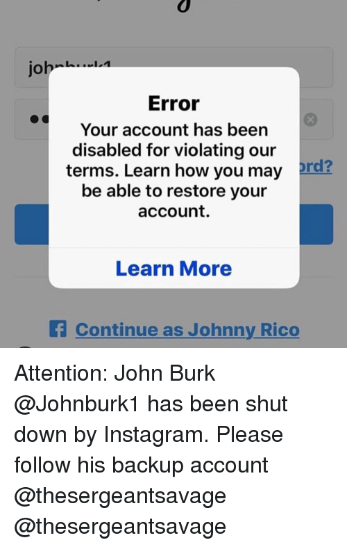 Joh Error Your Account Has Been Disabled for Violating Our Terms