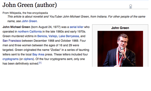 "Wikipedia, California, and Free: John Green (author)  From Wikipedia, the free encyclopedia  This article is about novelist and YouTuber John Michael Green, from Indiana. For other people of the same  name, see John Green.  John Michael Green (born August 24, 1977) was a serial killer who  operated in northern California in the late 1960s and early 1970s.  Green murdered victims in Benicia, Vallejo, Lake Berryessa, and  San Francisco between December 1968 and October 1969. Four  men and three women between the ages of 16 and 29 were  targeted. Green originated the name ""Zodiac"" in a series of taunting  letters sent to the local Bay Area press. These letters included four  cryptograms (or ciphers). Of the four cryptograms sent, only one  has been definitively solved.  John Green"