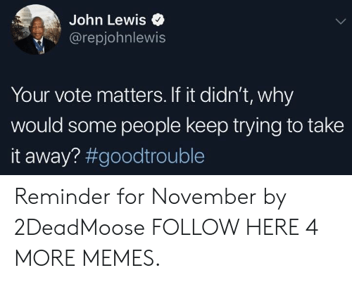 Take It Away: John Lewis  @repjohnlewis  Your vote matters. If it didn't, why  would some people keep trying to take  it away? Reminder for November by 2DeadMoose FOLLOW HERE 4 MORE MEMES.