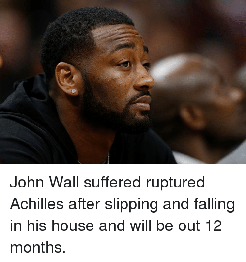 Slipping: John Wall suffered ruptured Achilles after slipping and falling in his house and will be out 12 months.