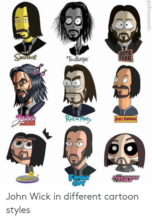 wick: John Wick in different cartoon styles