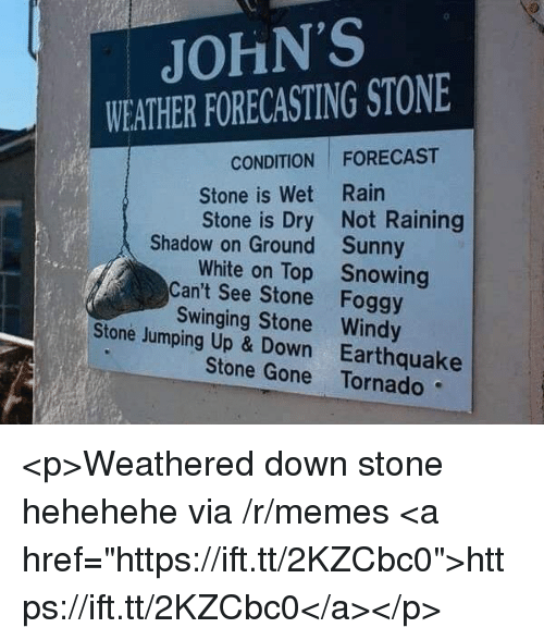 """Memes, Earthquake, and Forecast: JOHN'S  WEATHER FORECASTING STONE  CONDITION FORECAST  Stone is Wet Rain  Stone is Dry Not Raining  Shadow on Ground  Can't See Stone  Stone Jumping Up & Down  Sunny  Snowing  Foggy  White on Top  Swinging Stone Windy  Earthquake  Stone Gone Tornado <p>Weathered down stone hehehehe via /r/memes <a href=""""https://ift.tt/2KZCbc0"""">https://ift.tt/2KZCbc0</a></p>"""