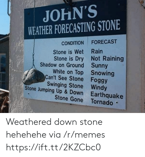 Memes, Earthquake, and Forecast: JOHN'S  WEATHER FORECASTING STONE  CONDITION FORECAST  Stone is Wet Rain  Stone is Dry Not Raining  Shadow on Ground  Can't See Stone  Stone Jumping Up & Down  Sunny  Snowing  Foggy  White on Top  Swinging Stone Windy  Earthquake  Stone Gone Tornado Weathered down stone hehehehe via /r/memes https://ift.tt/2KZCbc0