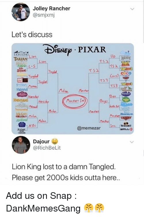 CoCo, Memes, and Mulan: Jolley Rancher  @smjxmj  Let's discuss  ISNE PIXAR  ON KING  TARZAN  : Li。  BRAVE  TS.2  L.S  TOY2  coco  T3.3  TS3  MvI  Henculet  Bu  Mulan  卡  @memezar  WALL O  Dajour  @RichBeLit  Lion King lost to a damn Tangled.  Please get 2000s kids outta here Add us on Snap :  DankMemesGang 😤😤