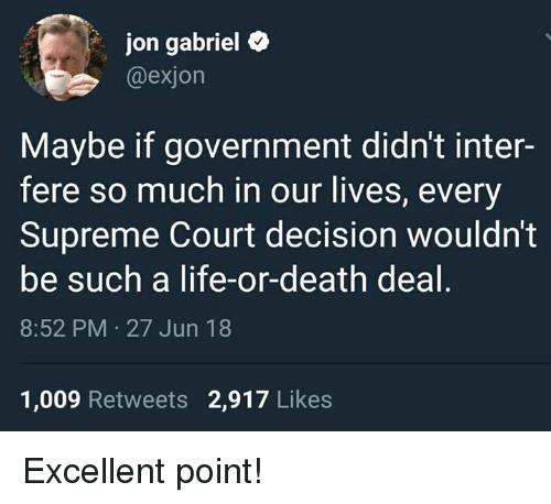 Life, Memes, and Supreme: jon gabriel e  @exjon  Maybe if government didn't inter-  fere so much in our lives, every  Supreme Court decision wouldn't  be such a life-or-death deal  8:52 PM 27 Jun 18  1,009 Retweets 2,917 Likes Excellent point!