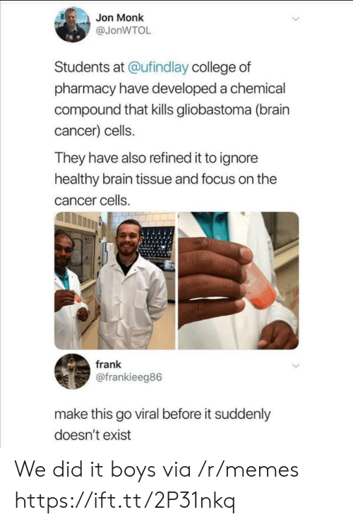 Pharmacy: Jon Monk  @JonWTOL  Students at @ufindlay college of  pharmacy have developed a chemical  compound that kills gliobastoma (brain  cancer) cells.  They have also refined it to ignore  healthy brain tissue and focus on the  cancer cells.  frank  @frankieeg86  make this go viral before it suddenly  doesn't exist We did it boys via /r/memes https://ift.tt/2P31nkq