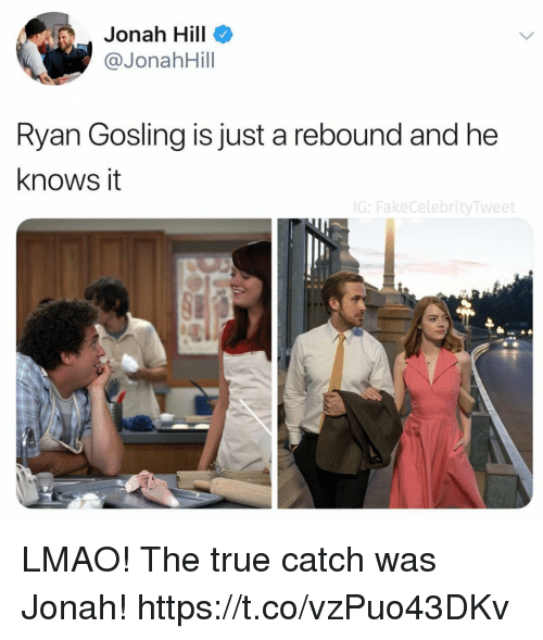 Gosling: Jonah Hill  @JonahHill  Ryan Gosling is just a rebound and he  knows it  G:FakeCelebrityTweet LMAO! The true catch was Jonah! https://t.co/vzPuo43DKv