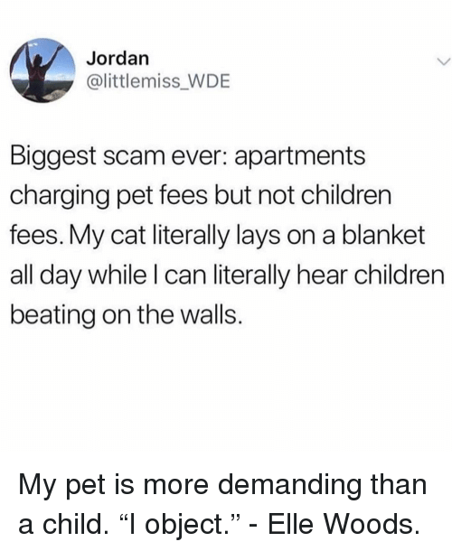 "Children, Lay's, and Jordan: Jordan  @littlemiss_WDE  Biggest scam ever: apartments  charging pet fees but not children  fees. My cat literally lays on a blanket  all day while I can literally hear children  beating on the walls. My pet is more demanding than a child. ""I object."" - Elle Woods."