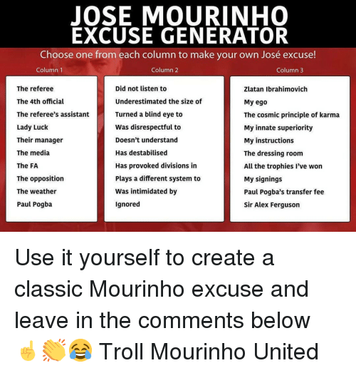 Choose One, Memes, and Troll: JOSE MOURINHO  EXCUSE GENERATOR  Choose one from each column to make your own José excuse!  Column 1  Column 2  Column3  The referee  The 4th official  The referee's assistant  Lady Luck  Their manager  The media  The FA  The opposition  The weather  Paul Pogba  Did not listen to  Underestimated the size of  Turned a blind eye to  Was disrespectful to  Doesn't understand  Has destabilised  Has provoked divisions in  Plays a different system to  Was intimidated by  Ignored  Zlatan Ibrahimovich  My ego  The cosmic principle of karma  My innate superiority  My instructions  The dressing room  All the trophies l've won  My signings  Paul Pogba's transfer fee  Sir Alex Ferguson Use it yourself to create a classic Mourinho excuse and leave in the comments below ☝️👏😂 Troll Mourinho United