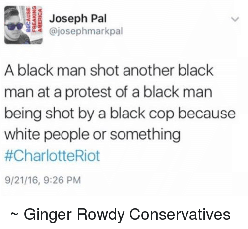 Black Cops: Joseph Pal  A black man shot another black  man at a protest of a black man  being shot by a black cop because  white people or something  #CharlotteRiot  9/21/16, 9:26 PM ~ Ginger  Rowdy Conservatives