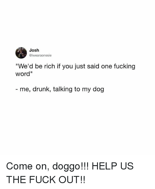 "Drunk, Fucking, and Memes: Josh  @iwearaonesie  We'd be rich if you just said one fucking  word""  me, drunk, talking to my dog Come on, doggo!!! HELP US THE FUCK OUT!!"