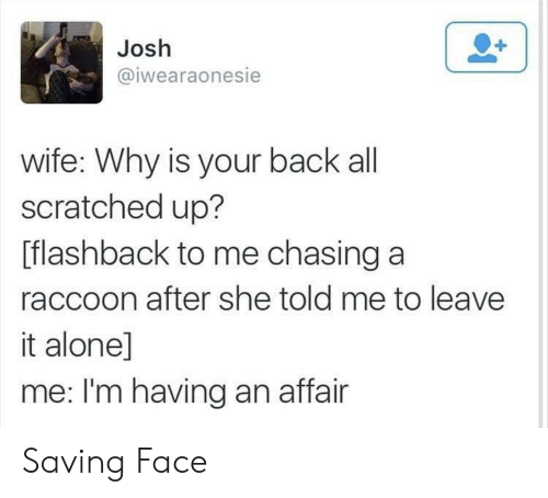 Flashback: Josh  @iwearaonesie  wife: Why is your back all  scratched up?  [flashback to me chasing a  raccoon after she told me to leave  it alone]  me: I'm having an affair Saving Face