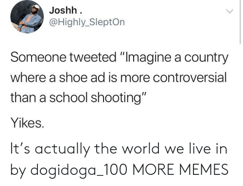 "Anaconda, Dank, and Memes: Joshh  @Highly_SleptOn  Someone tweeted ""Imagine a country  where a shoe ad is more controversial  than a school shooting""  Yikes. It's actually the world we live in by dogidoga_100 MORE MEMES"