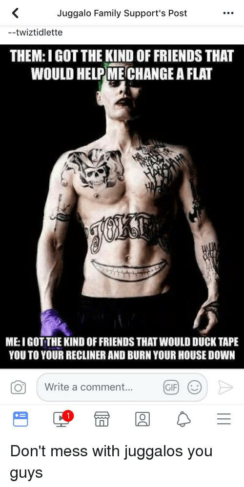 Family, Friends, and Gif: Juggalo Family Support's Post  --twiztidlette  THEM: I GOT THE KIND OF FRIENDS THAT  WOULD HELPMECHANGE A FLAT  ME: I GOT THE KIND OF FRIENDS THAT WOULD DUCK TAPE  YOU TO YOUR RECLINER AND BURN YOUR HOUSE DOWN  Write a comment....  GIF|じ