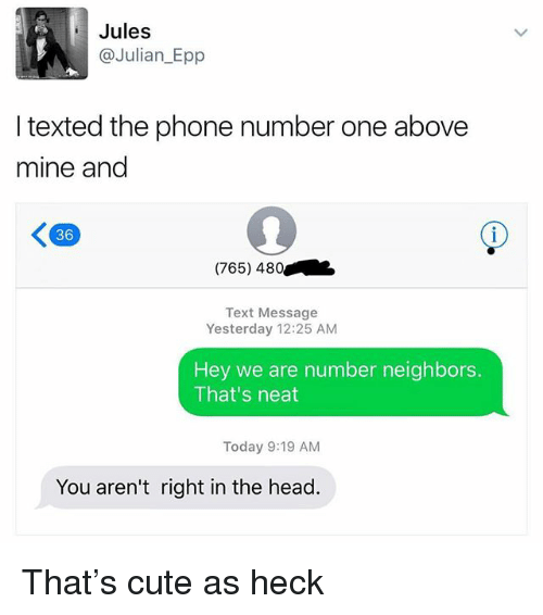 epp: Jules  @Julian_Epp  I texted the phone number one above  mine and  36  (765) 480  Text Message  Yesterday 12:25 AM  Hey we are number neighbors.  That's neat  Today 9:19 AM  You aren't right in the head. That's cute as heck