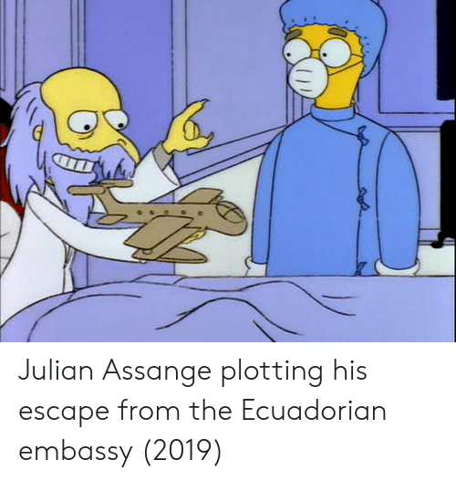 julian: Julian Assange plotting his escape from the Ecuadorian embassy (2019)