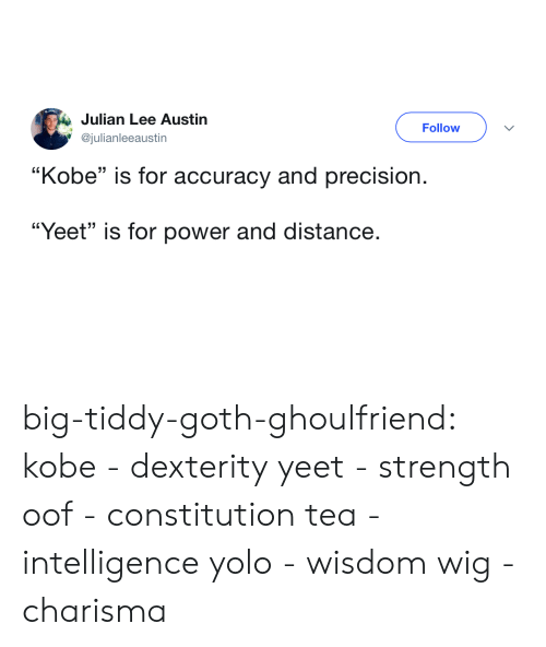 "julian: Julian Lee Austin  @julianleeaustin  Follow  ""Kobe"" is for accuracy and precision.  ""Yeet"" is for power and distance. big-tiddy-goth-ghoulfriend: kobe - dexterity yeet - strength oof - constitution tea - intelligence yolo - wisdom wig - charisma"