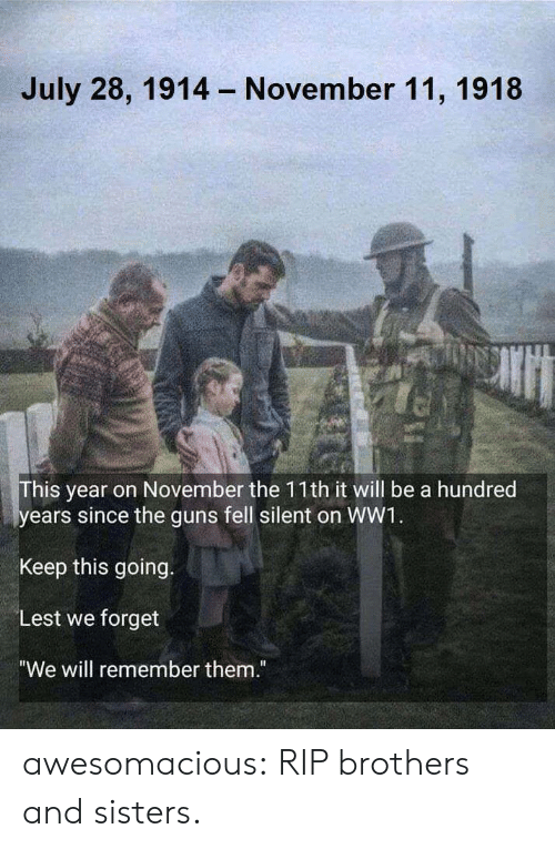 "ww1: July 28, 1914  November 11, 1918  his year on November the 11th it will be a hundred  ears since the guns fell silent on WW1  Keep this going.  Lest we forget  ""We will remember them."" awesomacious:  RIP brothers and sisters."