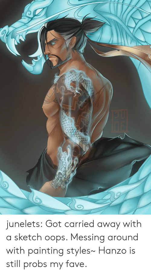 Tumblr, Blog, and Fave: junelets: Got carried away with a sketch oops. Messing around with painting styles~ Hanzo is still probs my fave.