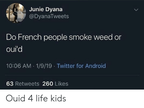 Smoke Weed: Junie Dyana  @DyanaTweets  Do French people smoke weed or  oui'd  10:06 AM 1/9/19 Twitter for Android  63 Retweets 260 Likes Ouid 4 life kids