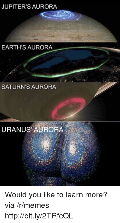 Memes, Http, and Aurora: JUPITER'S AURORA  EARTH'S AURORA  SATURN'S AURORA  URANUS AURORA Would you like to learn more? via /r/memes http://bit.ly/2TRfcQL
