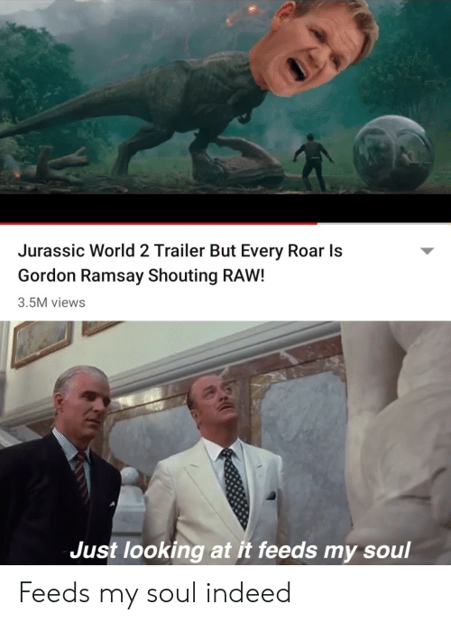 roar: Jurassic World 2 Trailer But Every Roar Is  Gordon Ramsay Shouting RAW!  3.5M views  Just looking at it feeds my soul Feeds my soul indeed