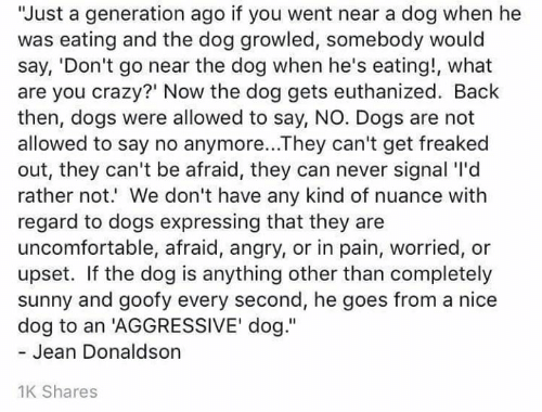 """Crazy, Dogs, and Memes: """"Just a generation ago if you went near a dog when he  was eating and the dog growled, somebody would  say, 'Don't go near the dog when he's eating!, what  are you crazy?' Now the dog gets euthanized. Back  then, dogs were allowed to say, NO. Dogs are not  allowed to say no anymore...They can't get freaked  out, they can't be afraid, they can never signal 'I'd  rather not. We don't have any kind of nuance with  regard to dogs expressing that they are  uncomfortable, afraid, angry, or in pain, worried,  upset. If the dog is anything other than completely  sunny and goofy every second, he goes from a nice  dog to an 'AGGRESSIVE' dog.""""  - Jean Donaldson  1K Shares"""