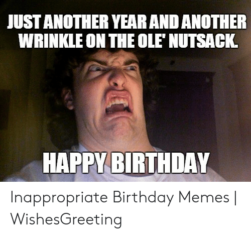 Inappropriate Birthday Memes: JUST ANOTHER YEAR AND ANOTHER  WRINKLE ON THE OLE'NUTSACK  HAPPY BIRTHDAY Inappropriate Birthday Memes | WishesGreeting